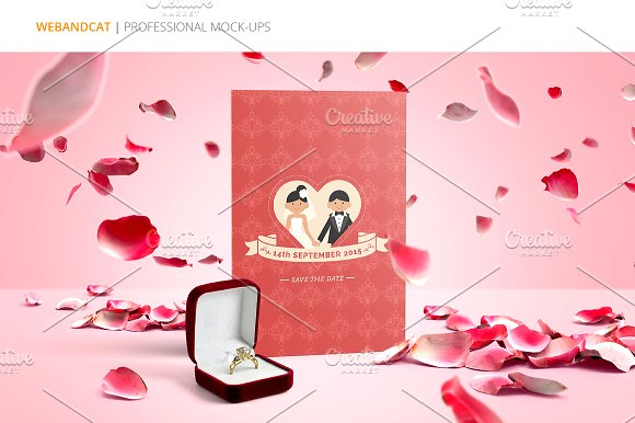 Invitation / Greeting Card Mock-Up in Print Mockups - product preview 1