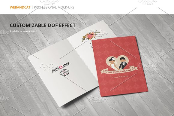 Invitation / Greeting Card Mock-Up in Print Mockups - product preview 5