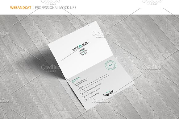 Invitation / Greeting Card Mock-Up in Print Mockups - product preview 4