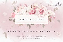 Pretty Pink Rose Watercolor Clipart