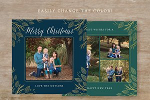 Gold Christmas Card Template 5x5