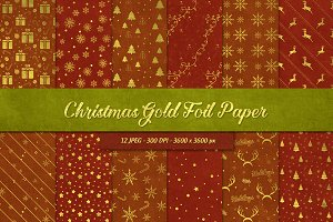 12 Christmas Gold Foil Papers