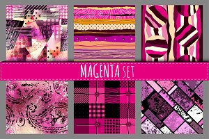 Seamless patterns in magenta color.