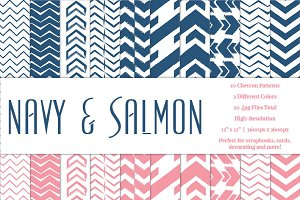 Navy & Salmon Chevron Pattern Papers