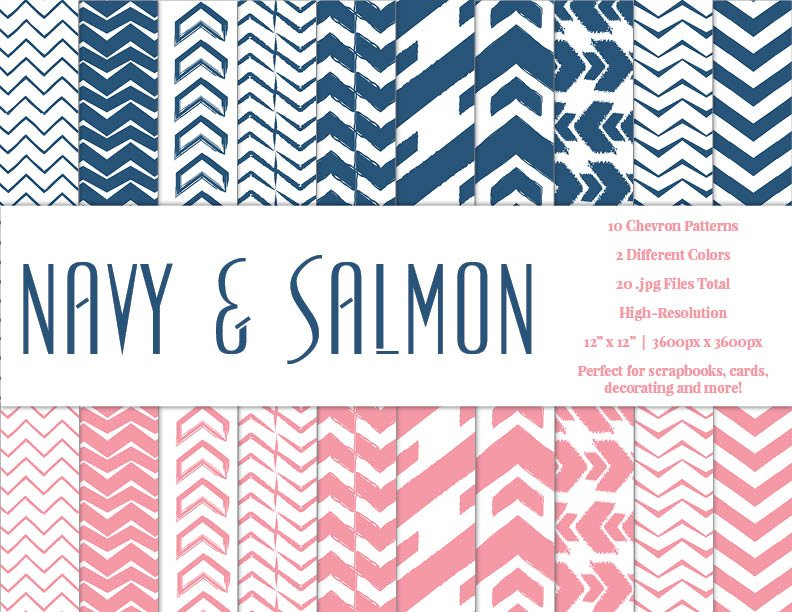 Navy & Salmon Chevron Pattern Papers ~ Graphic Patterns ~ Creative ...