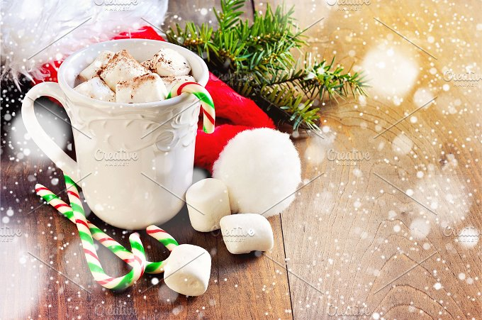 Hot chocolate. Christmas. Copy space - Food & Drink