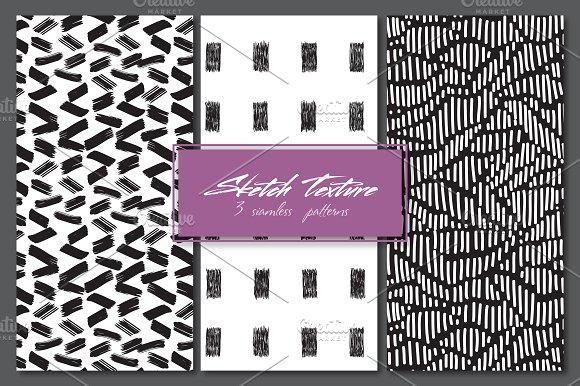 Sketch texture. 3 seamles patterns - Patterns