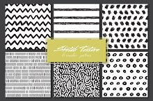 6 patterns with hand drawn textures