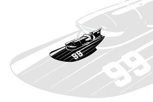 Vintage Racing Hydroplane vector