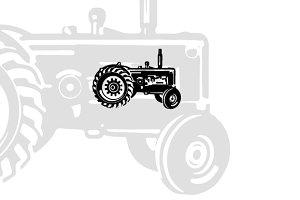 Vintage Tractor Vector 1
