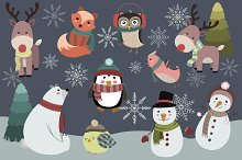 Winter Animals Vector & PNG Pack