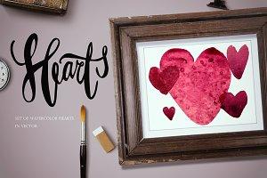 Marsala watercolor hearts