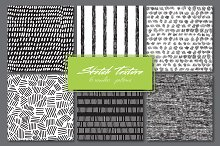 Hand drawn textures.Set of 6patterns