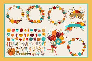 Fall Floral 86 pc Vector & PNG Pack