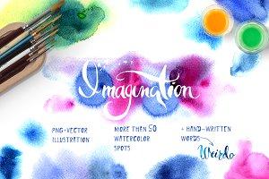 Set of bright watercolor spots