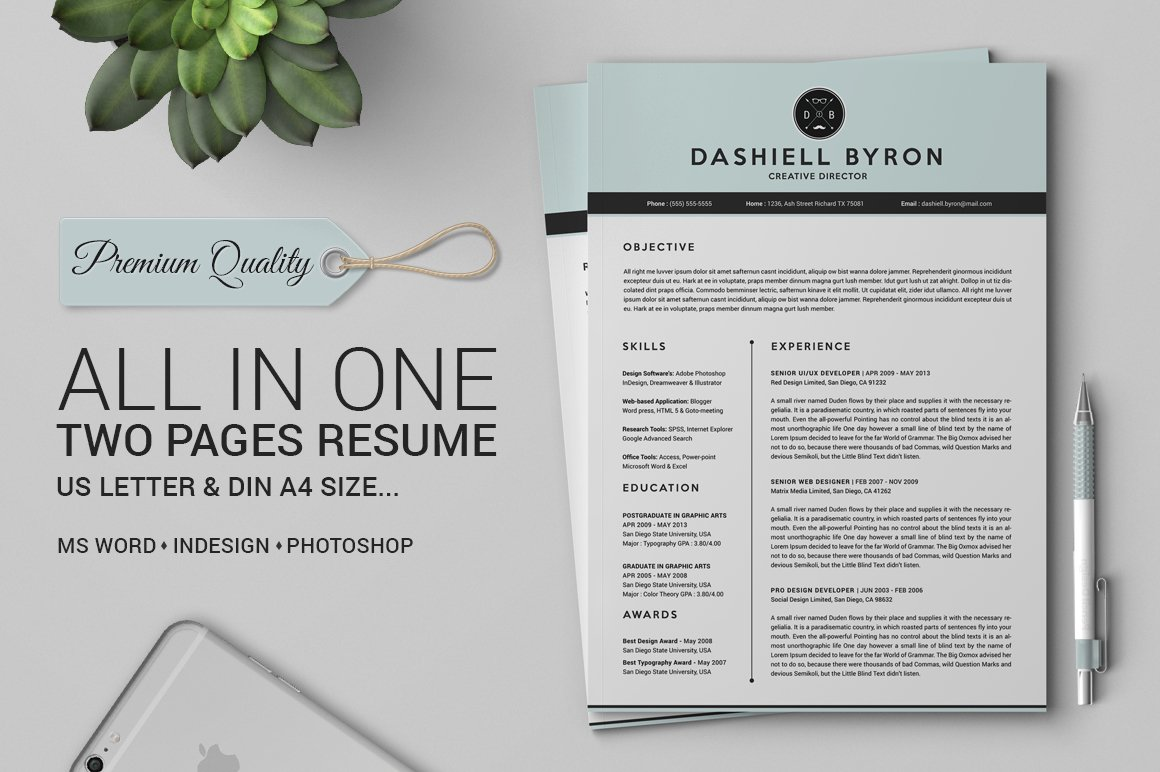 all in one two pages resume pack resume templates creative market