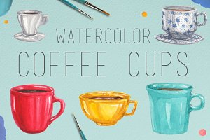 Watercolor Coffee Cups