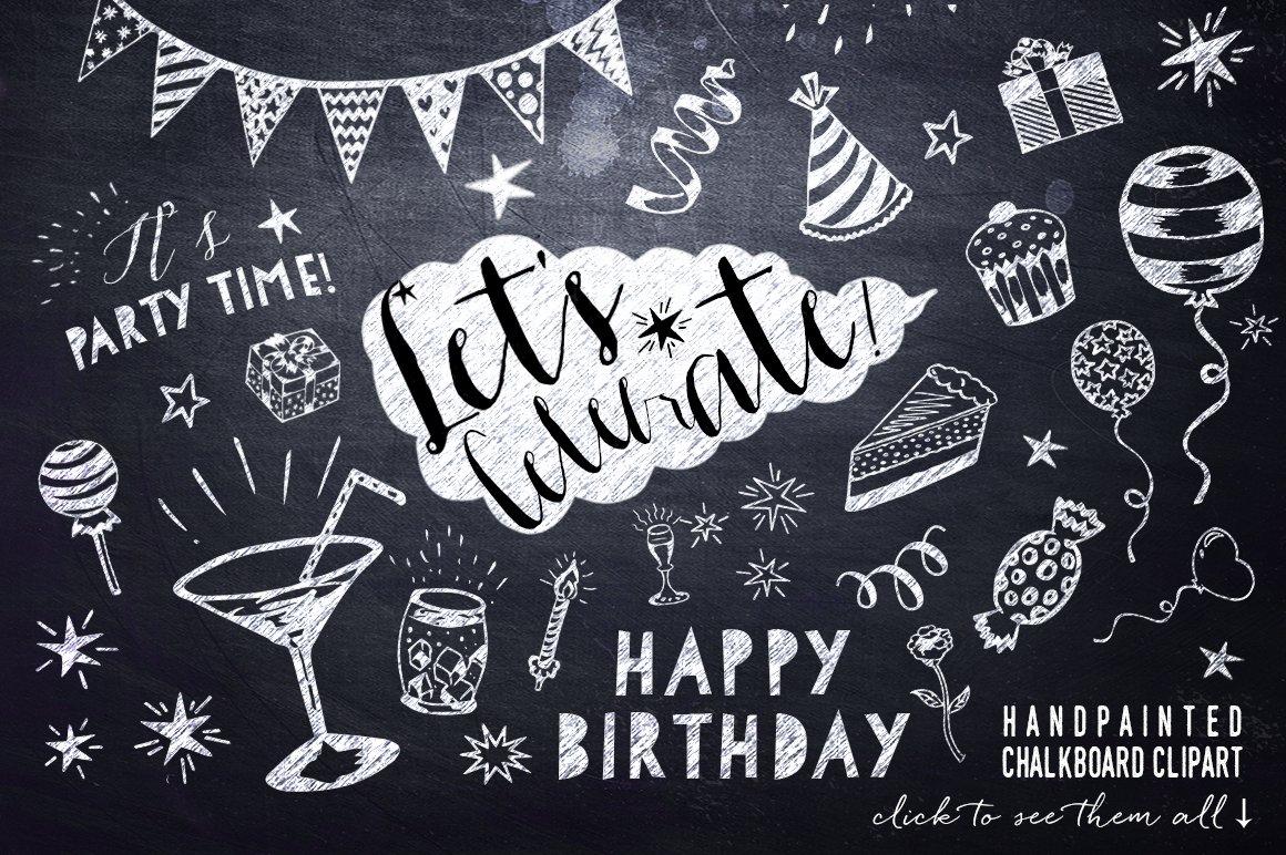 Chalkboard birthday party clipart illustrations creative market filmwisefo Choice Image