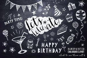 Chalkboard Birthday Party Clipart