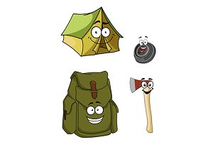 Set of cartoon camping and hiking ic