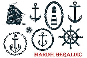 Marine and nautical heraldic element