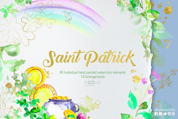 Saint Patrick Watercolor Clip arts