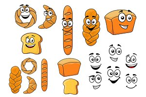 Cartoon breads with happy smiling fa
