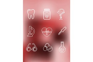 Medical icons in outline style