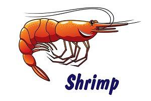 Cartoon shrimp icon or emblem