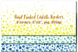 Hand painted confetti borders