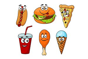 Colorful cartoon set of fast food ic