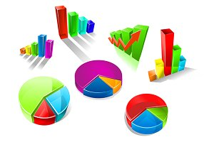 Set of colorful 3d graphs and charts