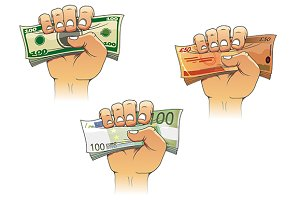 Hand grasping money with dollar, eur