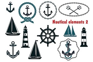 Set of nautical heraldry themed elem