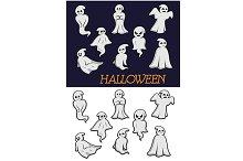 Cartoon Halloween ghosts