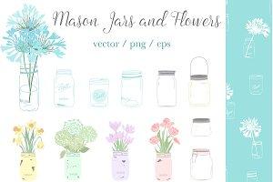 mason jar clipart, floral clip art