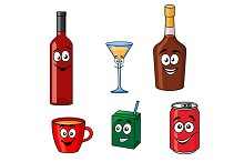 Cartoon set of assorted beverages or