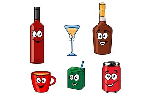 Cartoon set of assorted beverages or