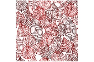 Seamless pattern of red autumnal lea