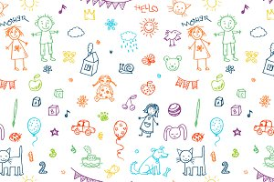 Doodle child`s drawing set + pattern