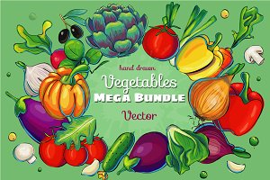 Hand drawn Vegetables Mega Pack