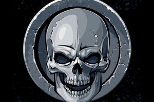 Skull in Stone Vector Art