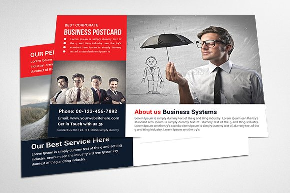 Corporate business postcard template card templates creative market corporate business postcard template cards cheaphphosting Image collections