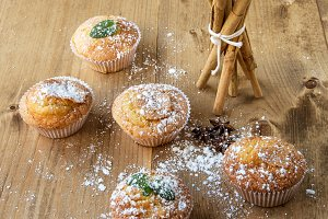 Homemade muffins with star anise, ci