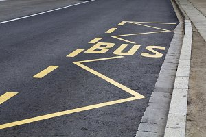 Bus parking in the street