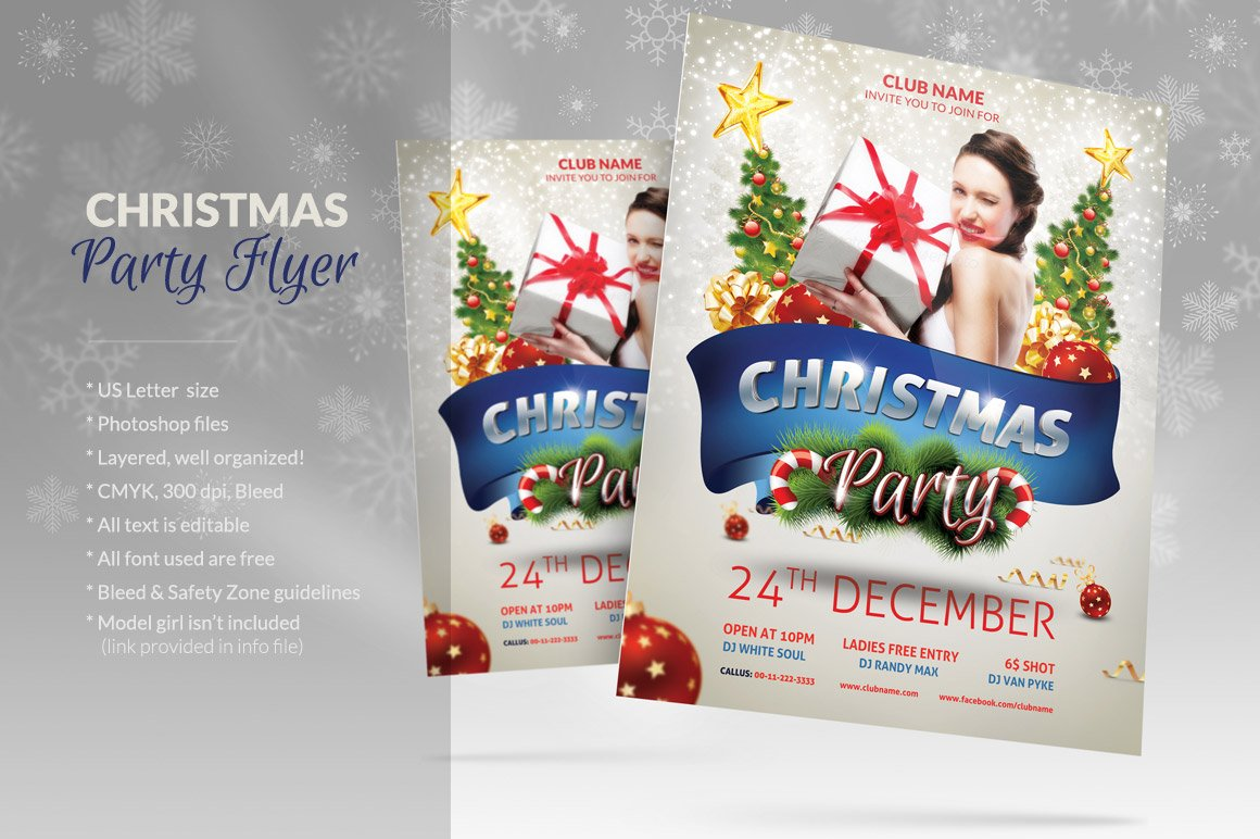 christmas party flyer flyer templates on creative market