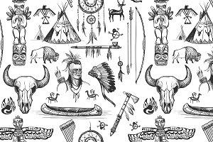Seamless Pattern American Tribal