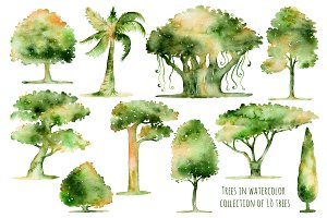 Collection of 10 hand drawn trees