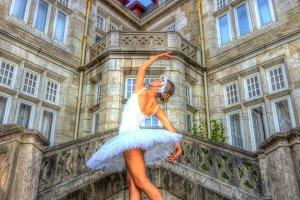 Pretty ballerina outdoors
