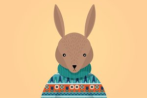 ugly sweater bunny vector